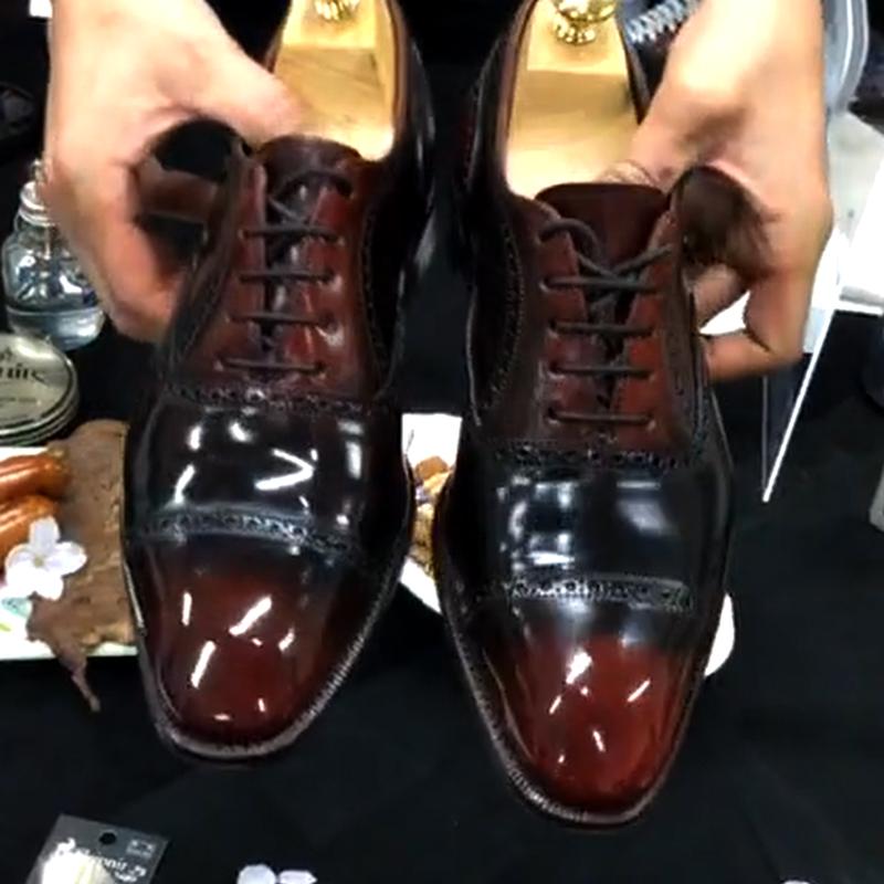 コードバンの靴の染め直し後の画像です。
