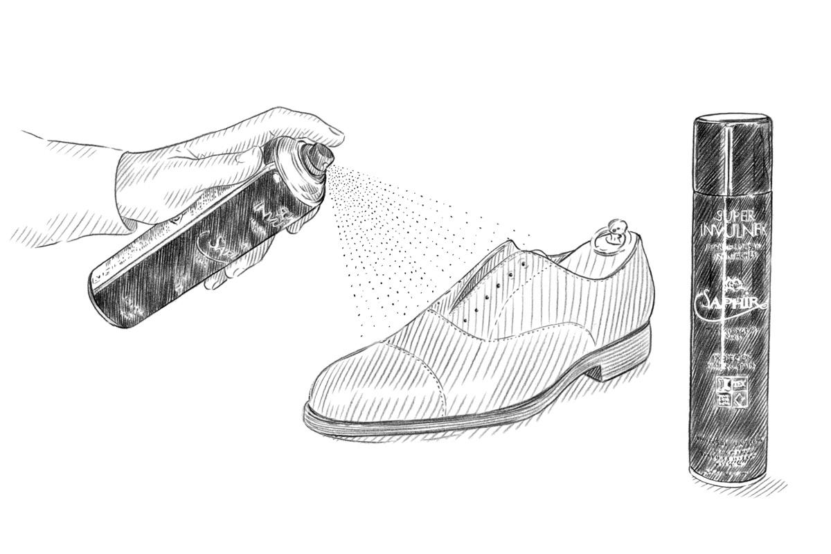 防水スプレーの使用方法のイラスト