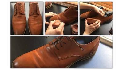 茶系の色の靴を磨いている画像