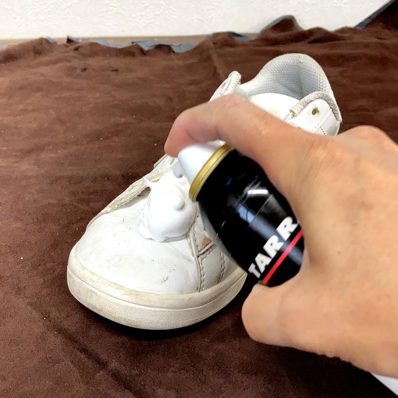 タラゴ シャンプーを靴に出している画像です。