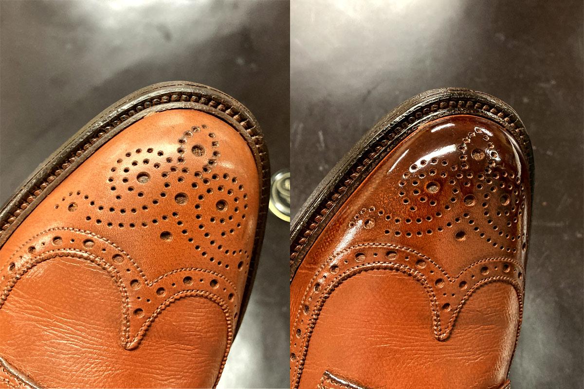 左が仕上げ前、右がアンティーク仕上げをした靴の画像です。