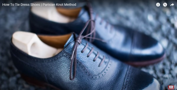 靴紐をパリジャン結びで結ばれた革靴